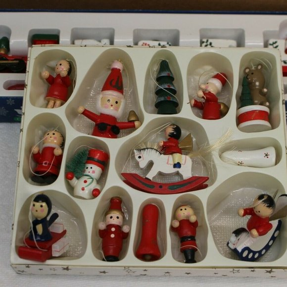 vintage Wooden Christmas Ornaments Still boxed